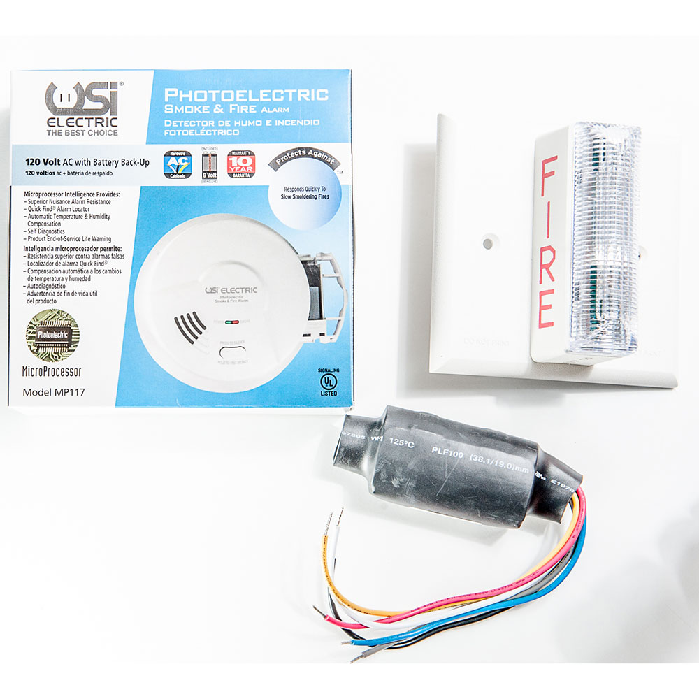 USI 120 Volt Photoelectric Smoke Alarm & Strobe Kit for Hearing Impaired - Meets ADA Requirements (2417)