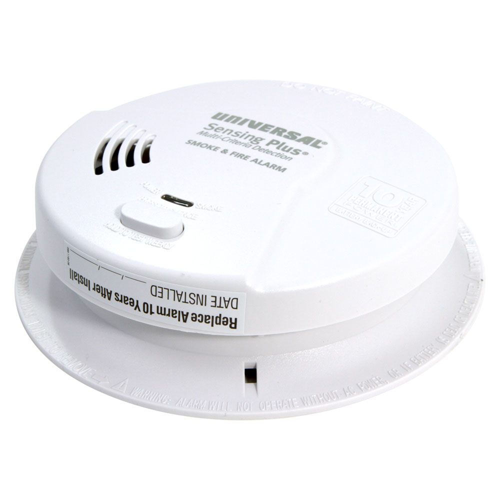 Universal Security Instruments Sensing Plus Multi Criteria Hardwired Smoke & Fire Alarm With 10 Year Battery Backup (AMI1061SC)