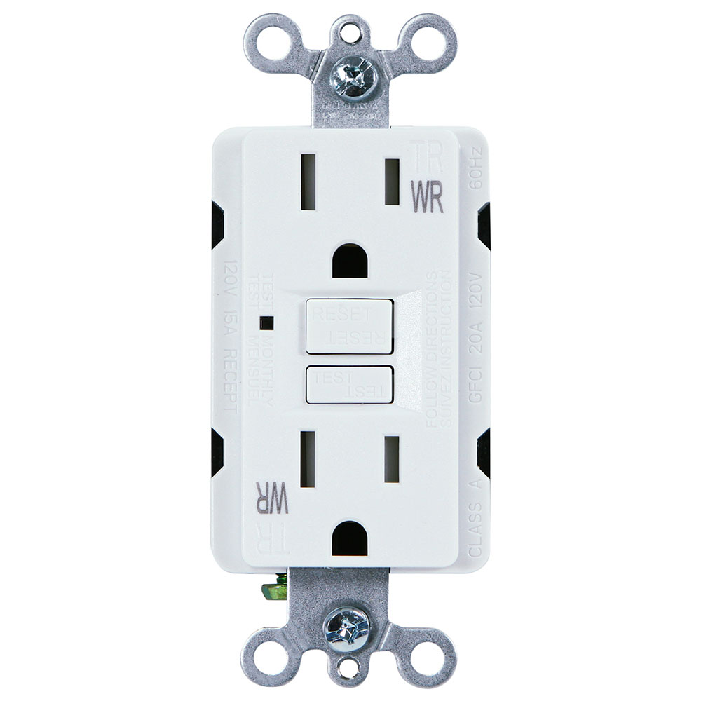 USI Electric 15 Amp Self Test GFCI Weather & Tamper Resistant Receptacle Duplex Outlet, White - G1415TWRWH