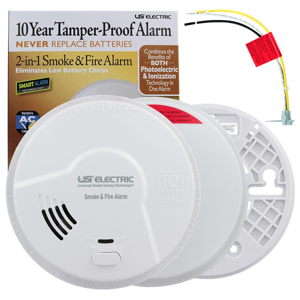 USI 2-in-1 Hardwired Smoke & Fire Smart Alarm with 10 Year Sealed Battery