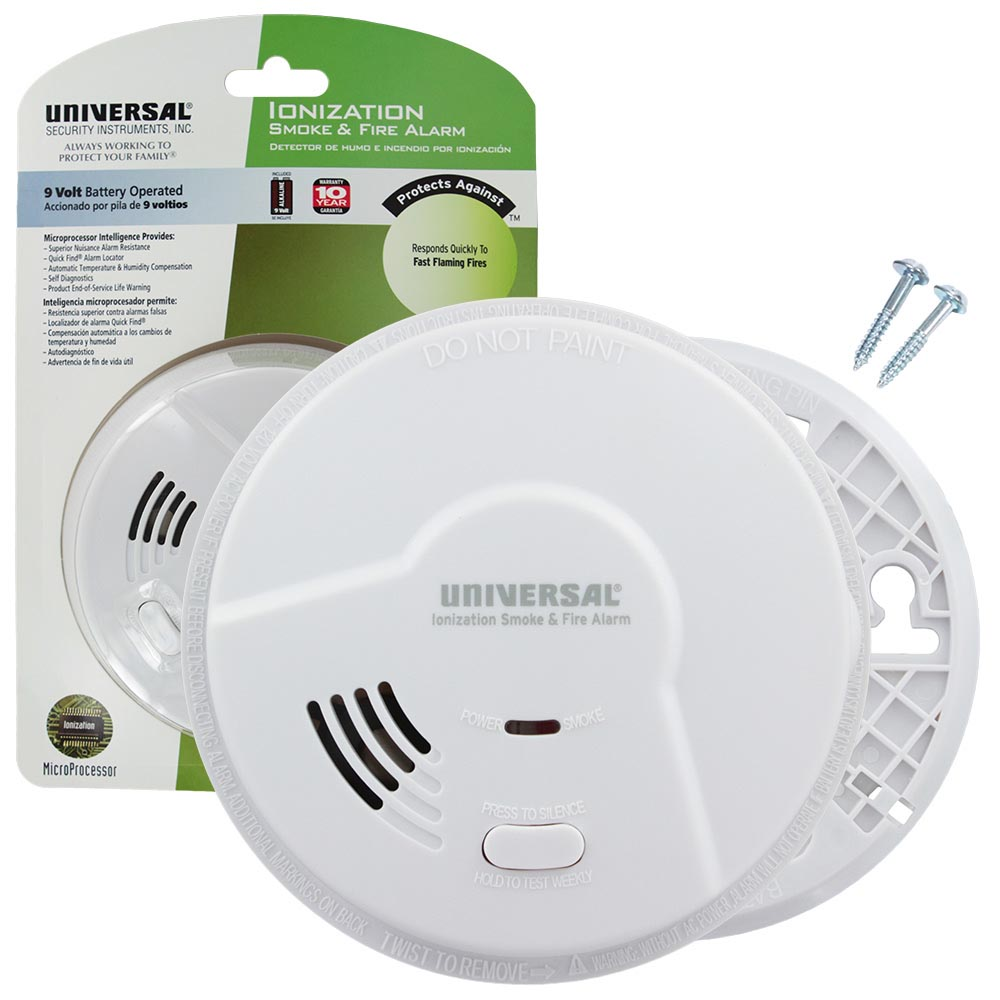 Universal Security Instruments Smart Battery-Operated Ionization Smoke and Fire Alarm (MI3050)
