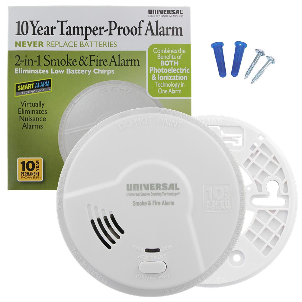 USI Bedroom 2-in-1 Smoke and Fire Smart Alarm with 10 Year Sealed Battery & Universal Smoke Sensing Technology (MI3050SB)