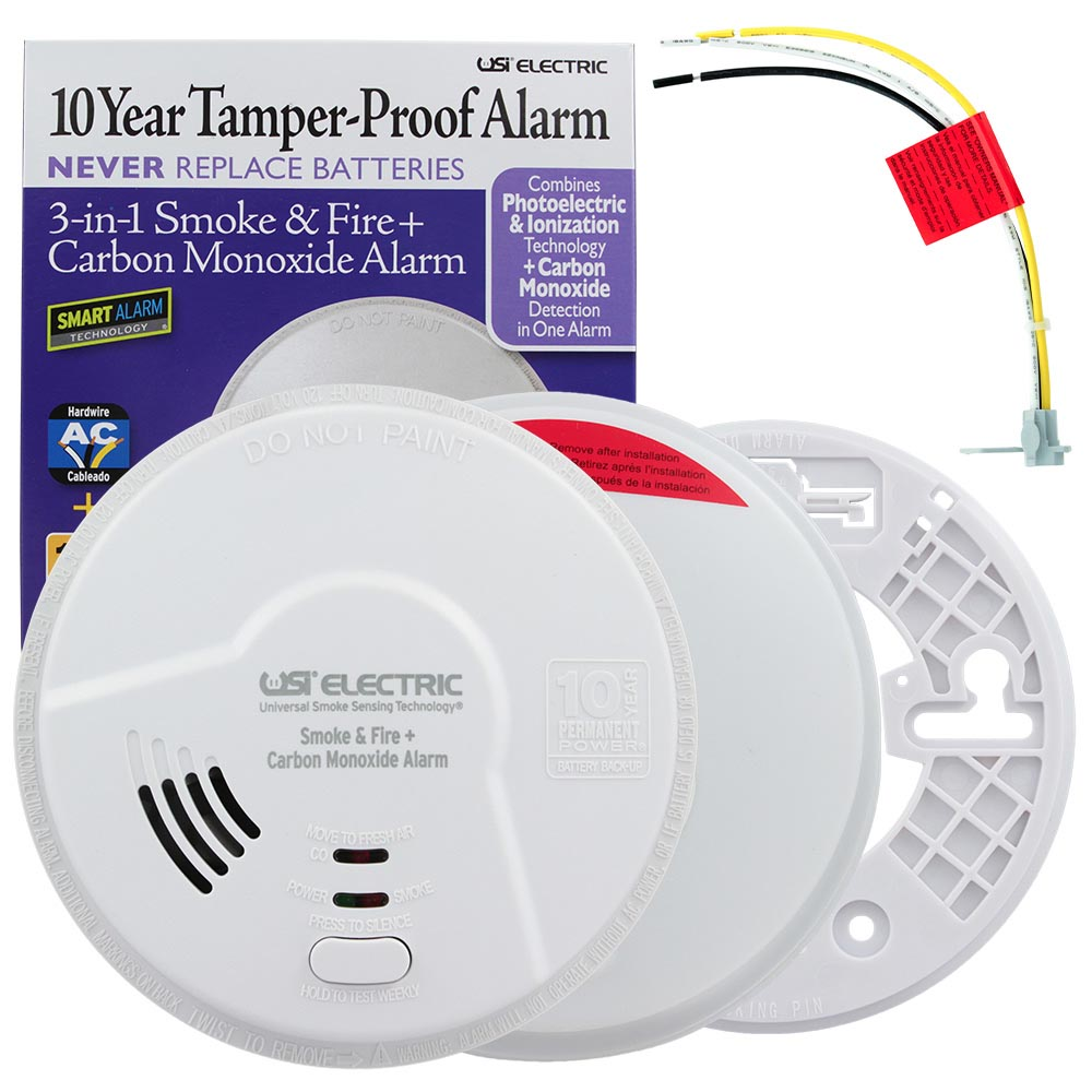 USI 3-in-1 Hardwired Smoke, Fire & Carbon Monoxide Smart Alarm with 10 Year Tamper-Proof Sealed Battery (MIC1509S)