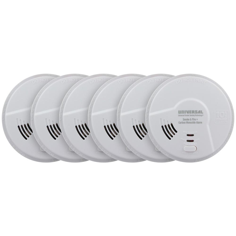 6 Pack Bundle of USI Hallway 3-in-1 Smoke, Fire and Carbon Monoxide Smart Alarm with 10 Year Tamper-Proof Sealed Battery (MIC3510SB)