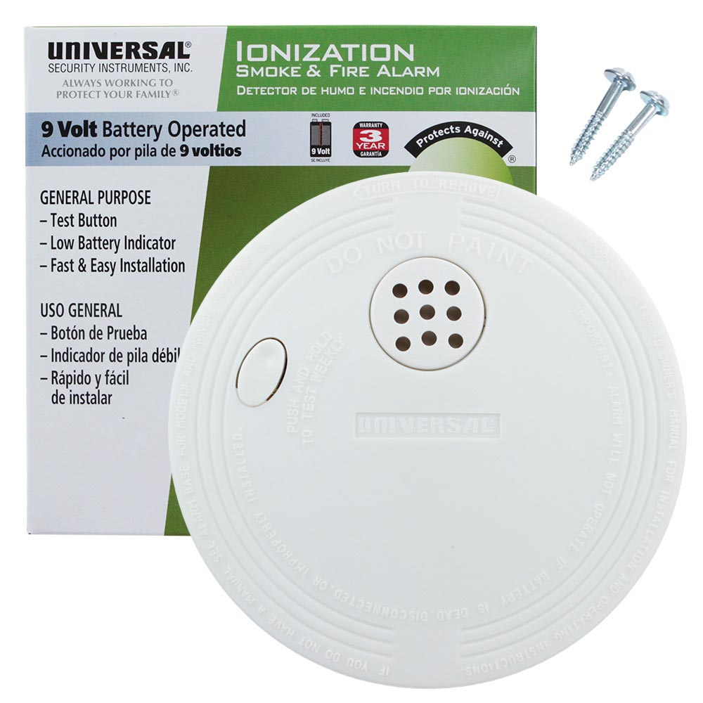 Usi Compact Size Battery Operated Ionization Smoke And Fire Alarm A Powered One Time Only Burglar Universal Security Instruments Ss