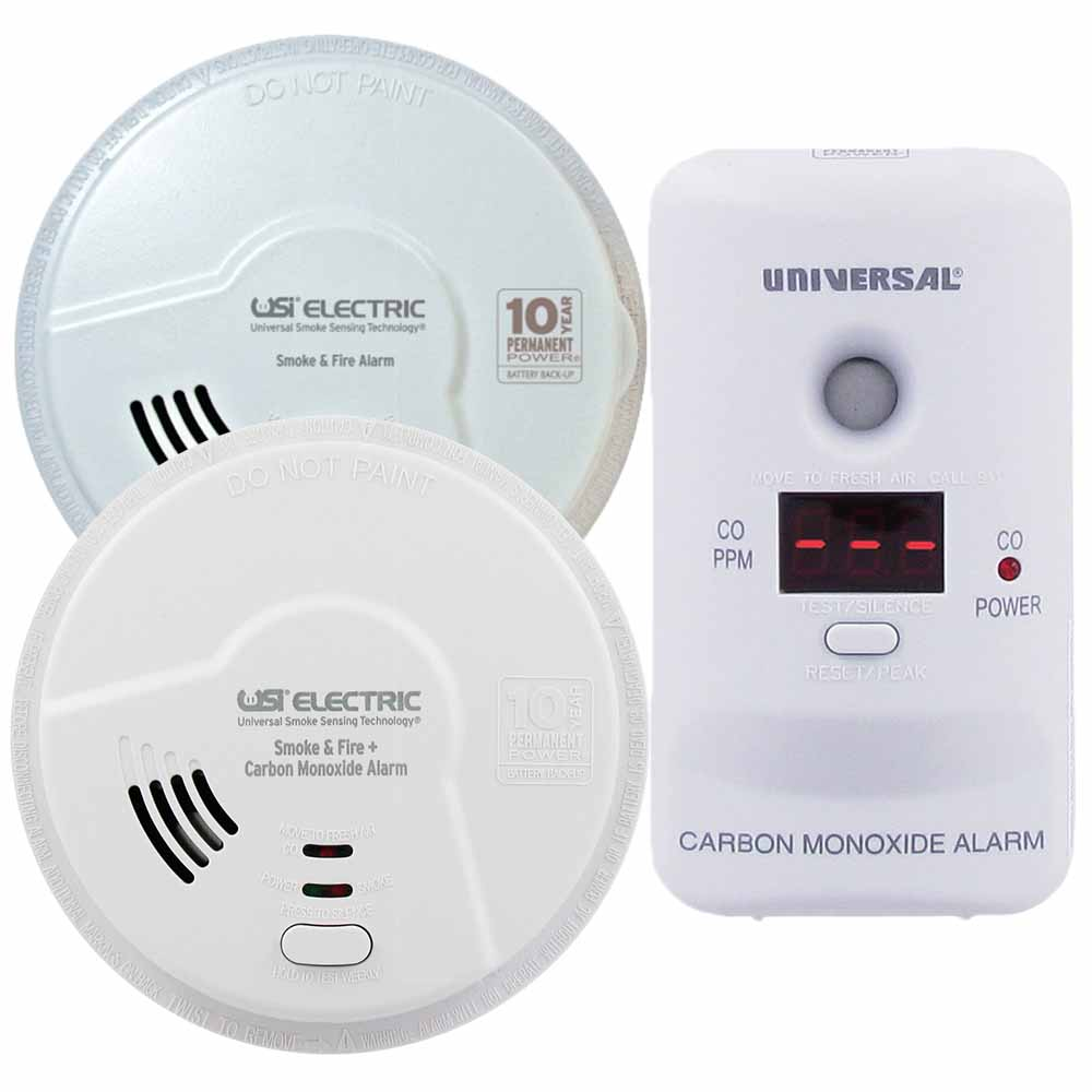 USI First Floor Living Area, Smoke, Fire & Carbon Monoxide Bundle, Includes 3 Alarms