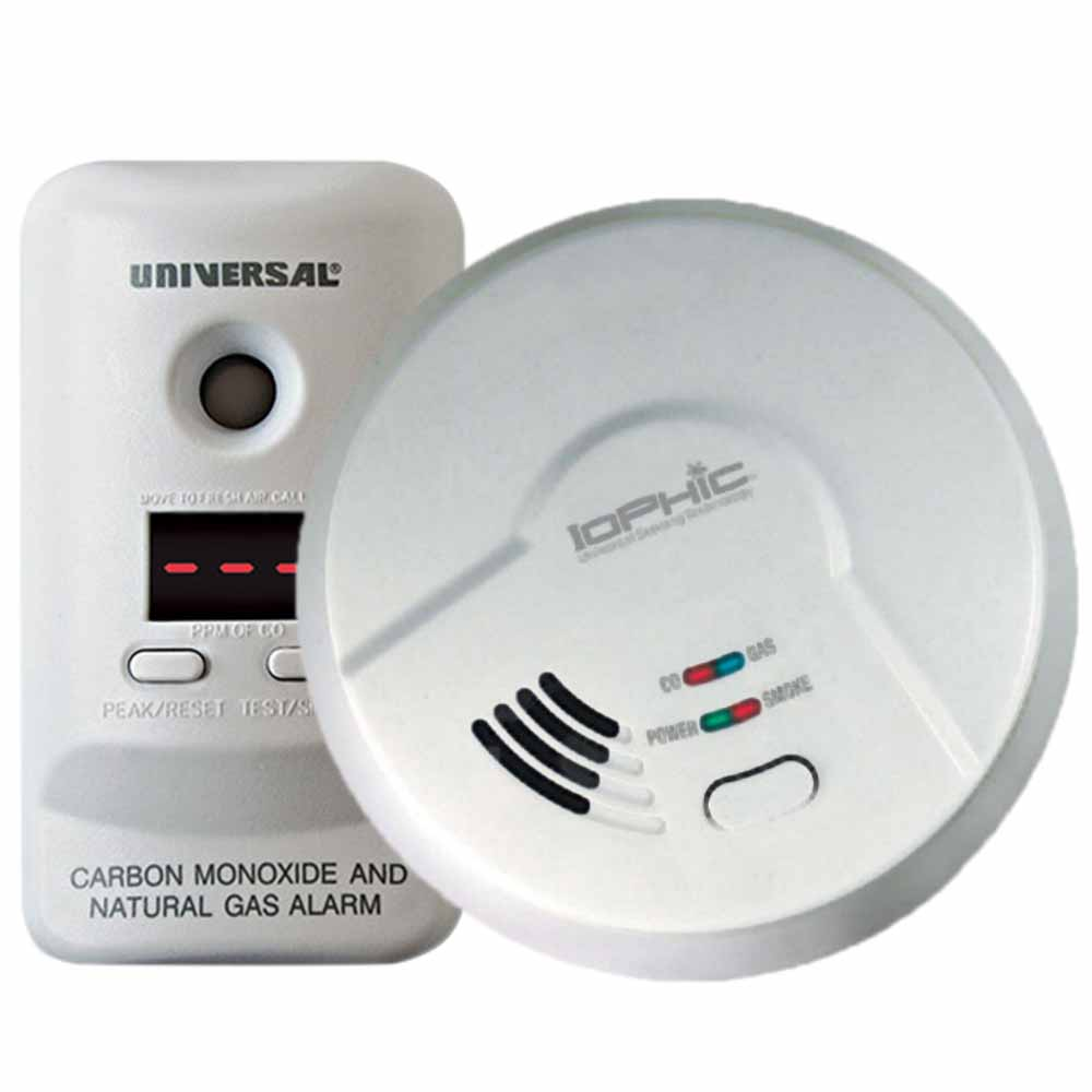 USI Hardwired Carbon Monoxide Bundle, Includes 1 CO & Gas Alarm + 1 Combo Alarm