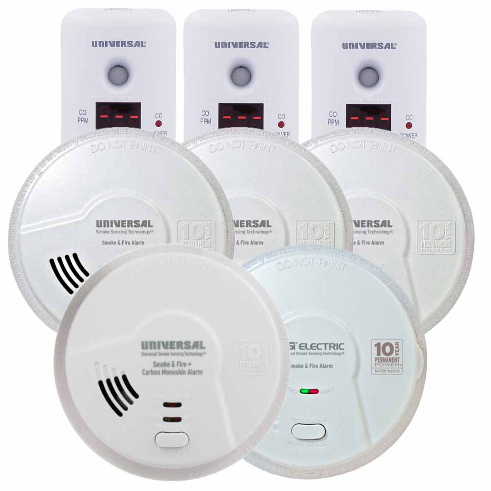 USI Homeowner's Smoke & Carbon Monoxide Bundle, Include 8 Alarms for Full House Coverage