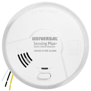 USI Sensing Plus AMI1061SC Hardwired Smoke & Fire Alarm, 10 Year Battery Backup