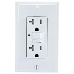 USI Electric 20 Amp GFCI Receptacle Duplex Outlet, White - G1320TRWH