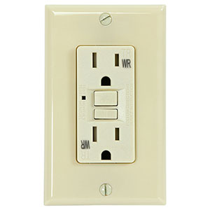 USI Electric 15 Amp Self Test GFCI Weather & Tamper Resistant Receptacle Duplex Outlet, Ivory - G1415TWRIV