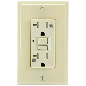 USI Electric 20 Amp GFCI Weather Resistant Receptacle Outlet, Ivory - G1420TWRIV