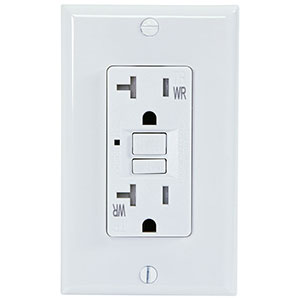 USI Electric 20 Amp GFCI Weather Resistant Receptacle Outlet, White - G1420TWRWH